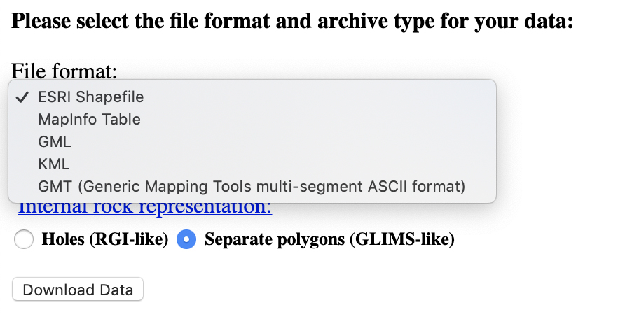 The GLIMS Glacier Viewer provides options for downloading in a number of GIS formats.
