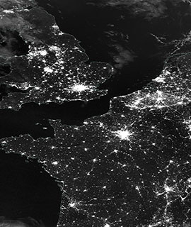 Western Europe at Night on 12 July 2020 (Suomi NPP/VIIRS) - Feature Grid