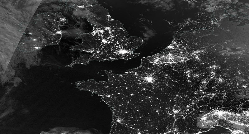 Western Europe at Night on 12 July 2020 (Suomi NPP/VIIRS)