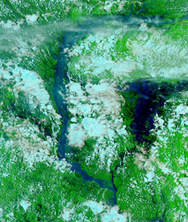 Flooding along the Brahmaputra River, Bangladesh on 25 July 2020 (VIIRS/NOAA-20) - Feature Grid