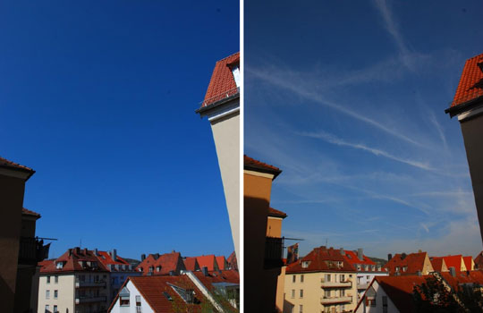 Photographs comparing a clear day versus a day with several contrails