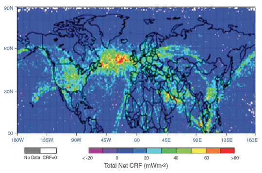 Data image showing where contrails contributed to atmospheric heat during 2006