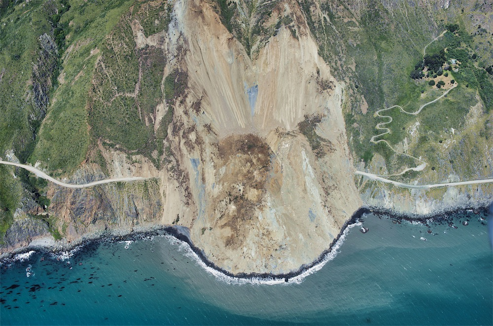 The Mud Creek landslide near Big Sur, California, dumped about 6 million cubic yards (5 million cubic meters) of rock and debris across California Highway 1 on May 20, 2017.
