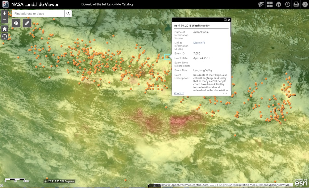 Landslide Viewer is a web portal to open global landslide data and environmental data from NASA, citizen scientists, and other resources. Knowing where and when landslides occur can help communities worldwide prepare for these disasters.