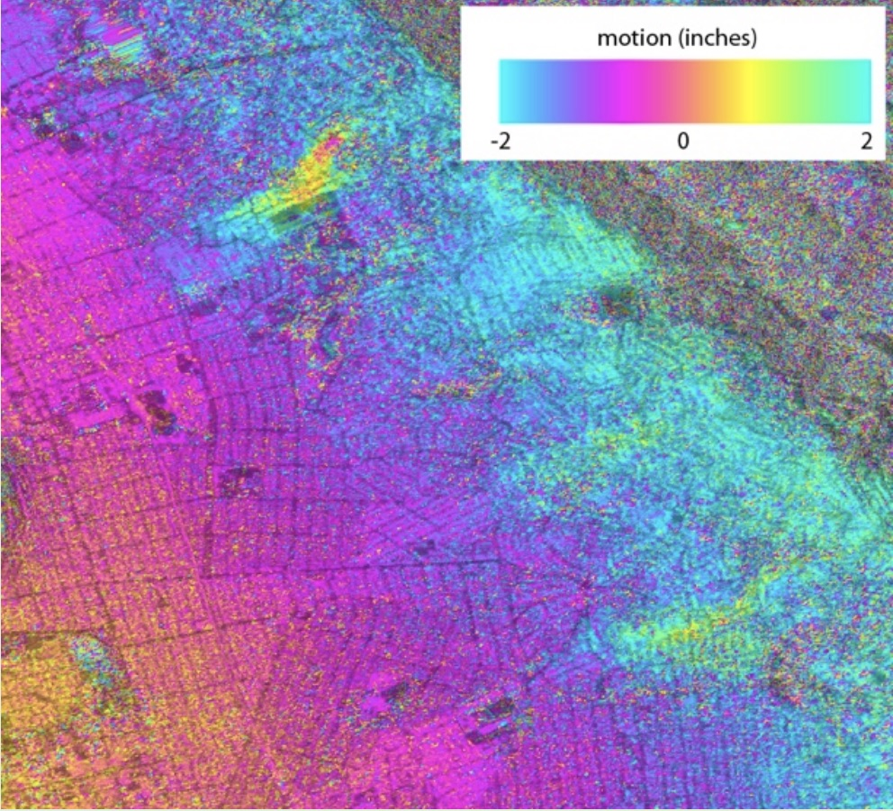 Ground movement of landslides in the Berkeley Hills of California between 2008 and 2010 was captured using Uninhabited Aerial Vehicle Synthetic Aperture Radar (UAVSAR), NASA's airborne prototype for the NASA-Indian Space Research Organisation SAR (NISAR) mission. In this type of map, called an interferogram, the colors show contours	of ground movement.