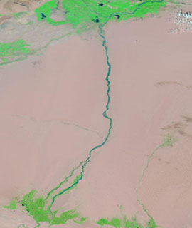 Hotan River, China on 16 August 2020 (MODIS/Terra) - Feature Grid