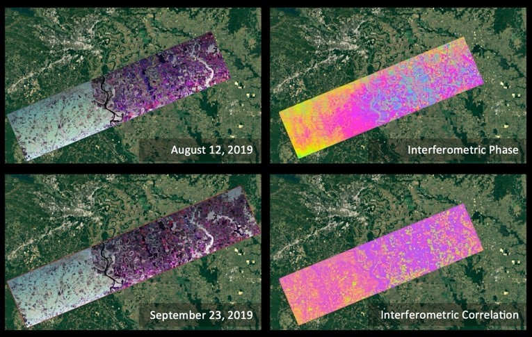 Four image collage with false color images on left (grading from gray on left to purple on right) and interferograms on right (with colored fringes grading from yellow on left to pink on right).