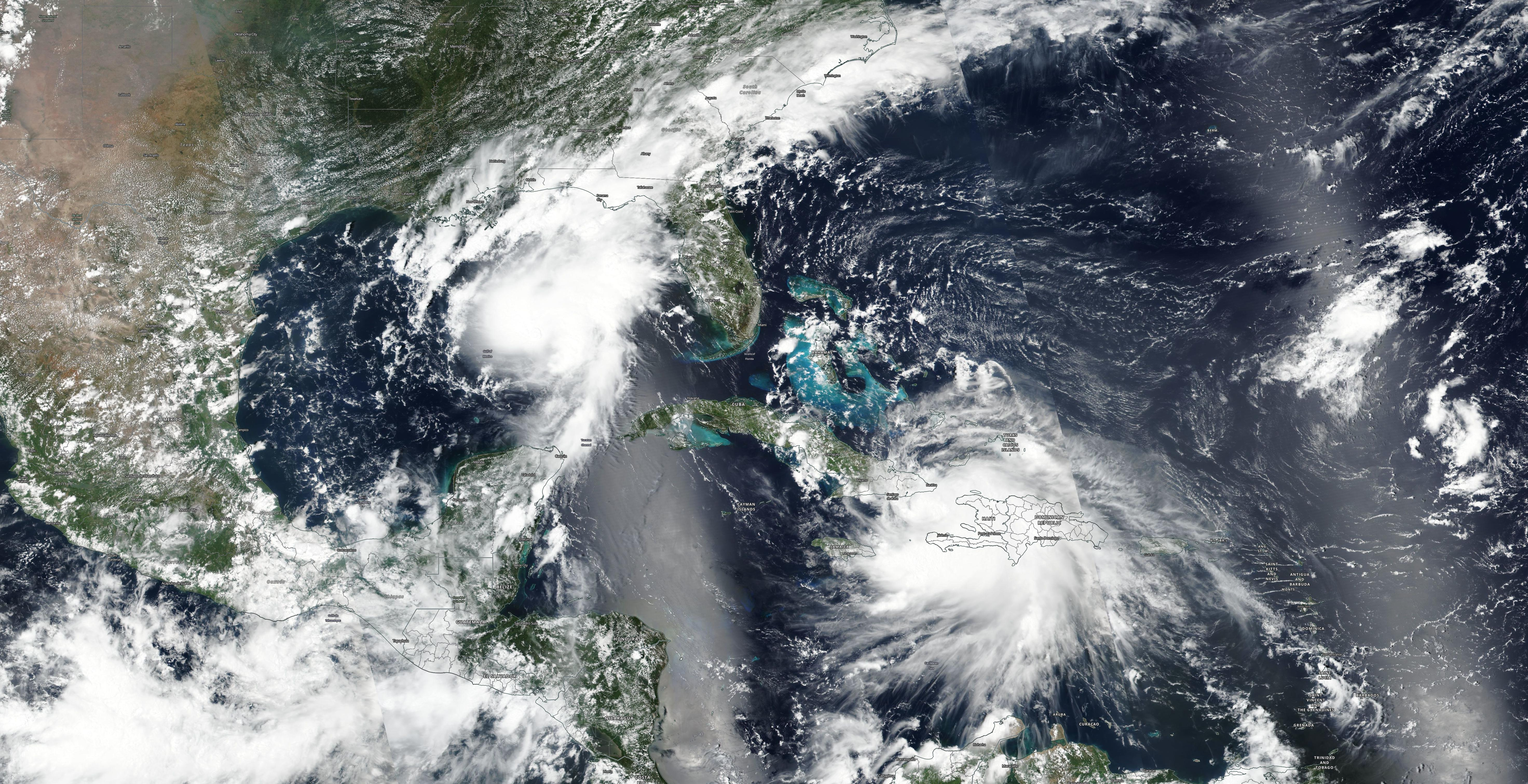 Tropical Storms Marco and Laura - VIIRS - 24 AUG 2020