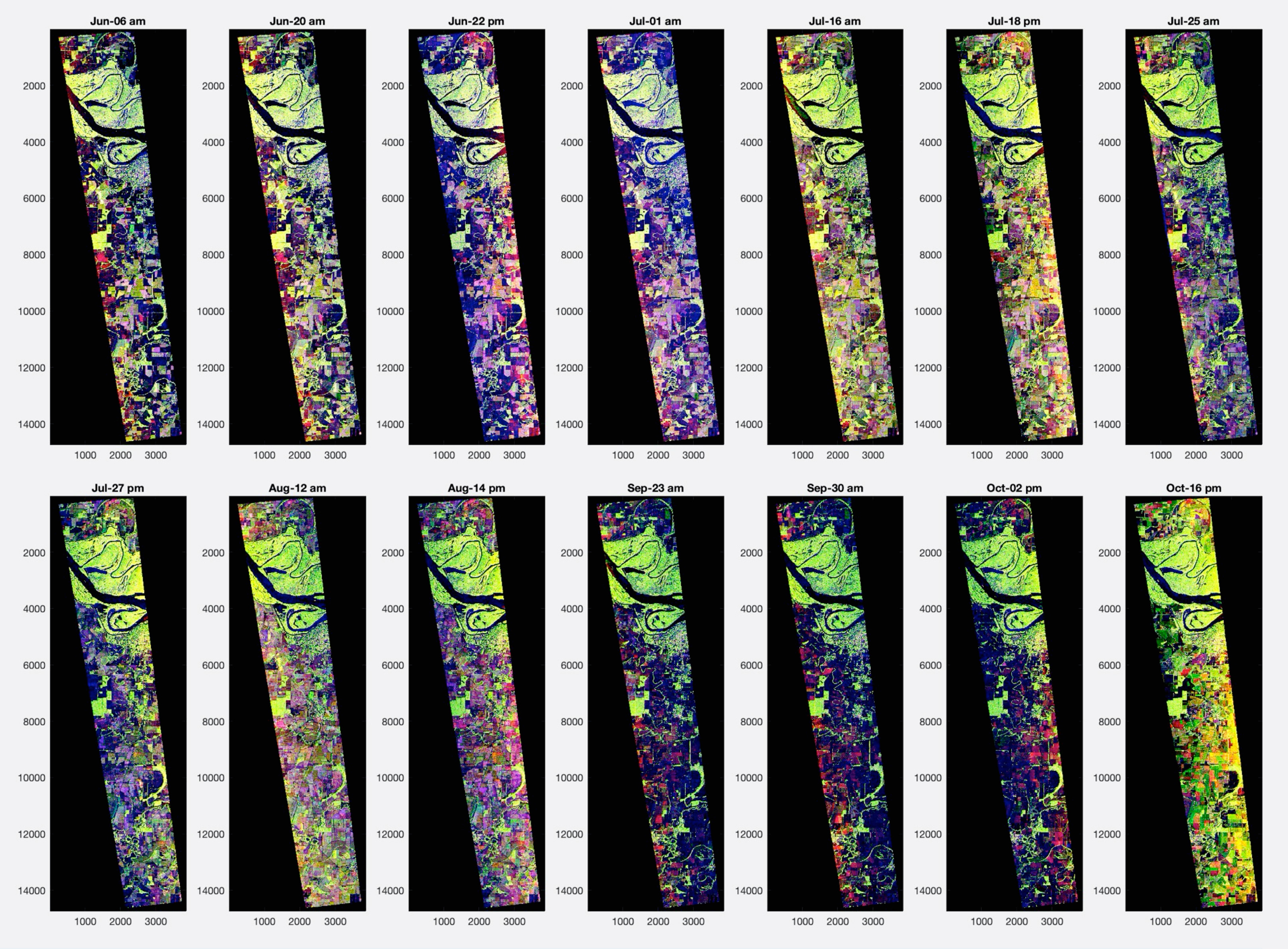 Series of 14 rectangular images acquired by the UAVSAR over a range of false-color bands.