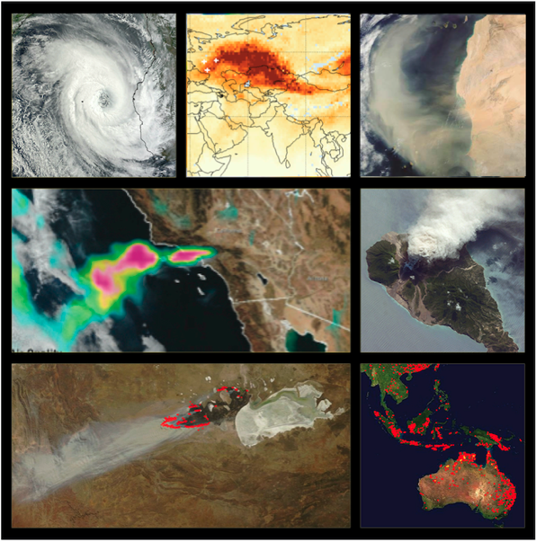 Image shows a wide variety of natural and man-made phenomena monitored by NASA's Land, Atmosphere Near real-time Capability for EOS (LANCE).