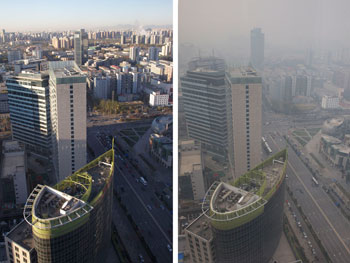 A pair of photographs comparing clear and smoggy days in Beijing