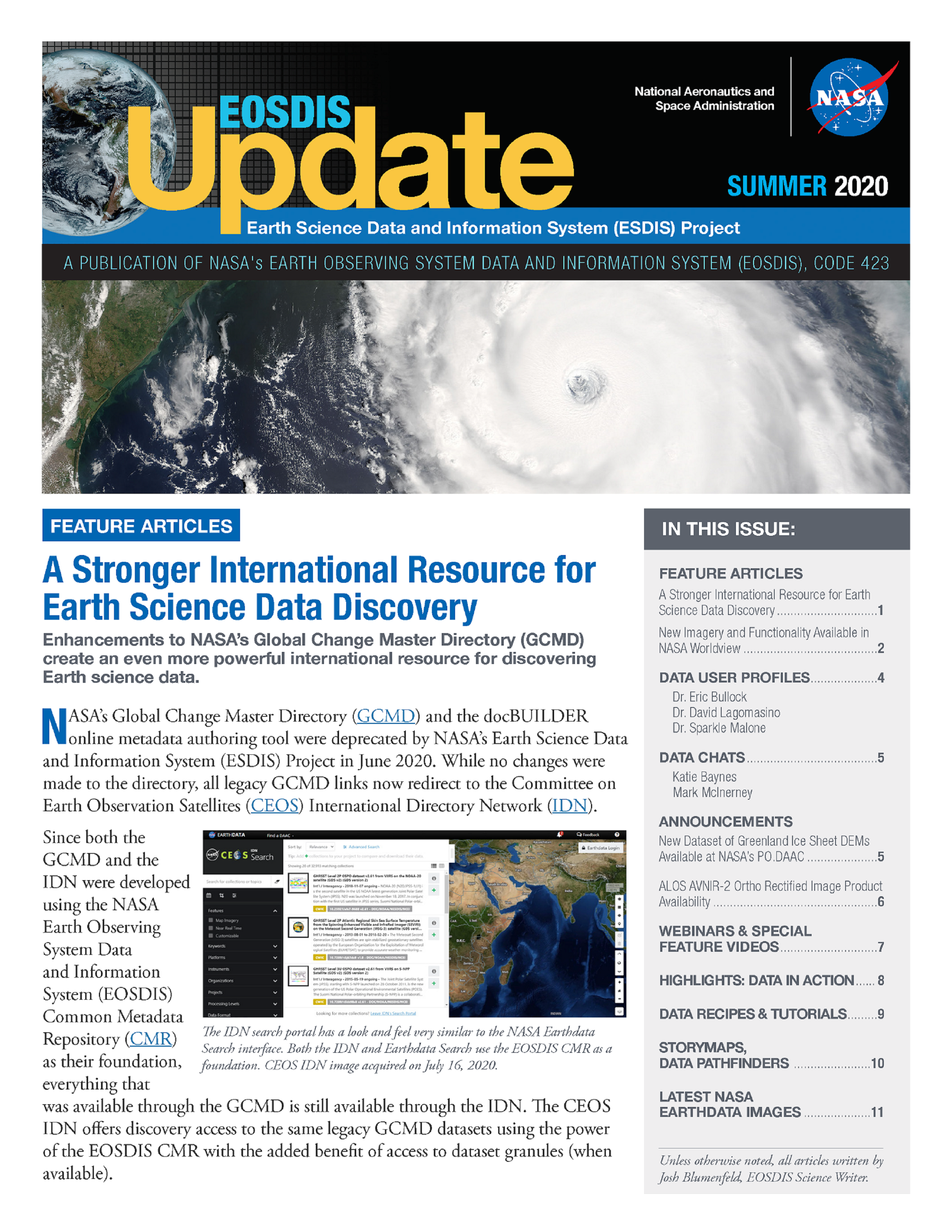 EOSDIS Quarterly Update- Summer 2020 Newsletter Cover Image