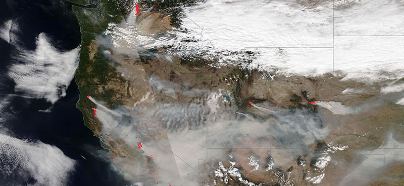 Fires across the Western USA on 7 September 2020 (NOAA-20/VIIRS)