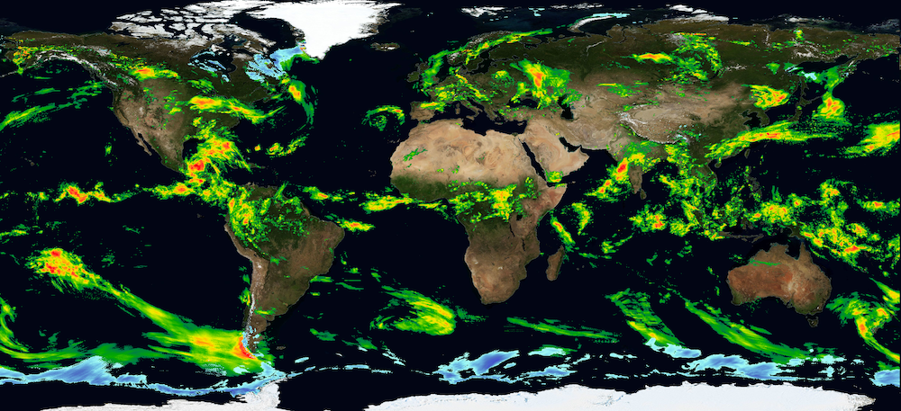 Global map shows precipitation data for June 3, 2020, from NASA's Integrated Multi-satellitE Retrievals for GPM (IMERG) algorithm.