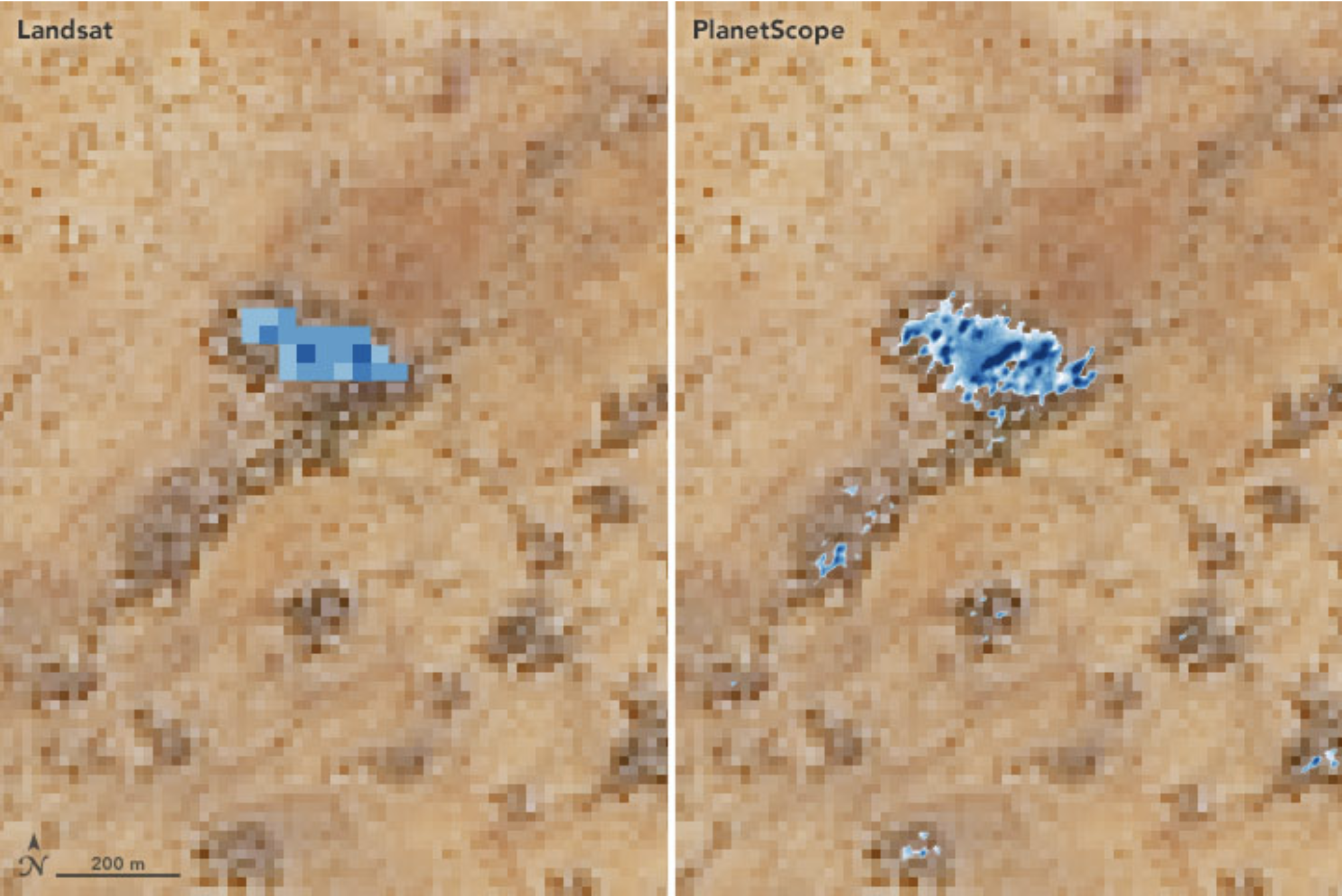 The image shows improved resolution of PlanetScope imagery, compared to Landsat, when identifying small watering holes for herders in Senegal.