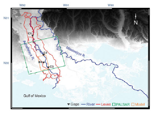 Data image showing the Atchafalaya Basin Floodway System