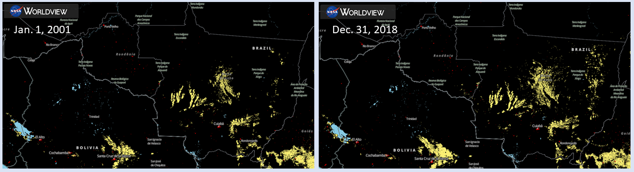 Side-by-side images with MODIS-detected cropland shown in yellow and urban areas shown in red against a black background with the outlines of countries/states for Bolivia and Brazil. More yellow is clearly visible in the right side (later) image.