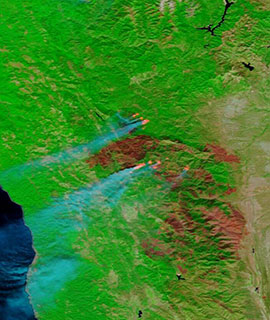 August Complex Fire, CA on 27 September 2020 (Terra/MODIS) - Feature Grid