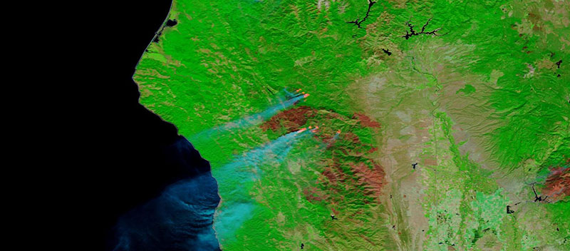 August Complex Fire, CA on 27 September 2020 (Terra/MODIS)