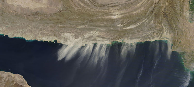 Dust blowing off the coast of Pakistan and Iran on 12 October 2020 (MODIS/Terra)