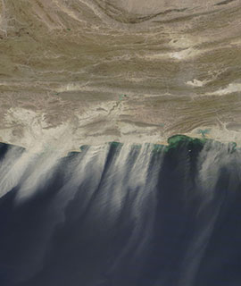 Dust blowing off the coast of Pakistan and Iran on 12 October 2020 (MODIS/Terra) - Feature Grid