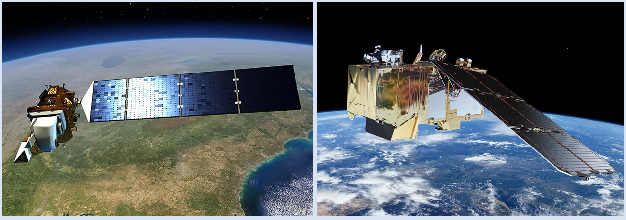Side-by-side images showing the Landsat-8 satellite over Earth on the left and the Sentinel-2 satellite over Earth on the right.