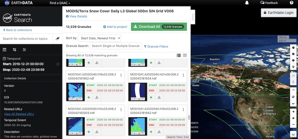 Terra Moderate Resolution Imaging Spectroradiometer (MODIS) Daily Snow Cover in Earthdata Search