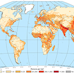 Gridded Population of the World,Version 4(GPWv4):Population Density consists of estimates of human population density based on counts consistent with national censuses and population registers for the years 2000, 2005, 2010, 2015, and 2020. Credit Socioeconomic Data and Applications Center