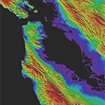 GDEM Version 3 shaded relief topography of San Francisco. Credit: Land Processes DAAC