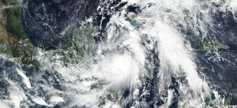 Tropical Storm Zeta on 25 October 2020 (Suomi NPP/VIIRS)