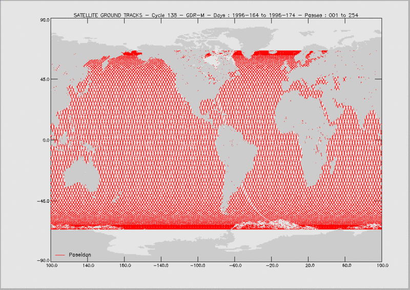World map with red lines crisscrossing over the oceans representing satellite orbital tracks.