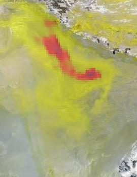 High Aerosol Index Over Northern India on 9 November 2020 (Suomi NPP/OMPS) - Feature Grid