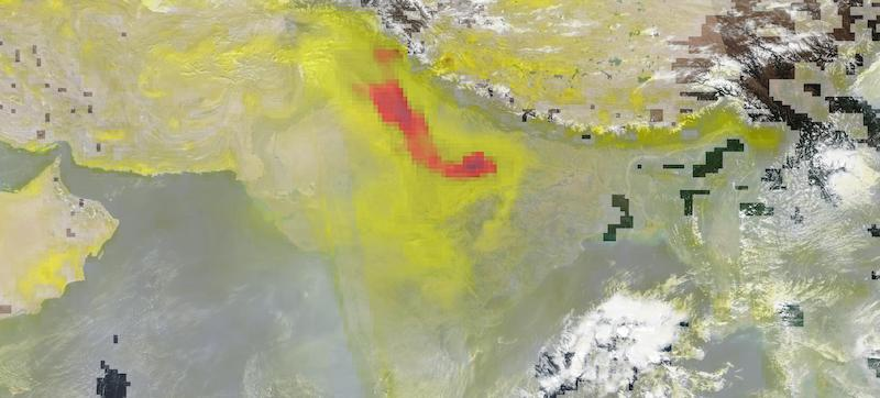 High Aerosol Index Over Northern India on 9 November 2020 (Suomi NPP/OMPS)