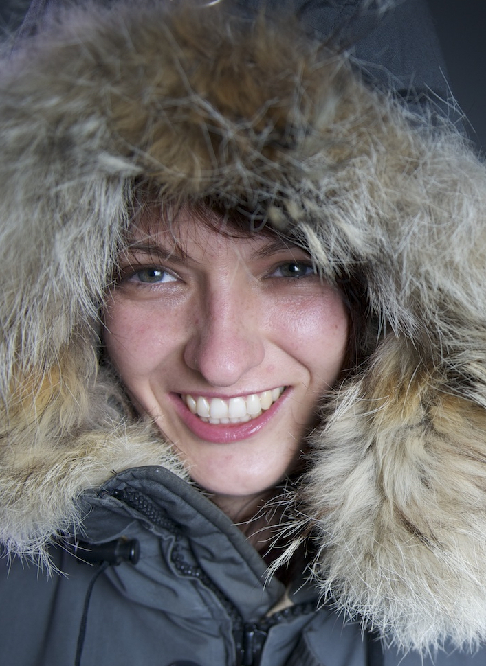 Headshot of Dr. Boening wearing a gray parka with a fur-trimmed hood.