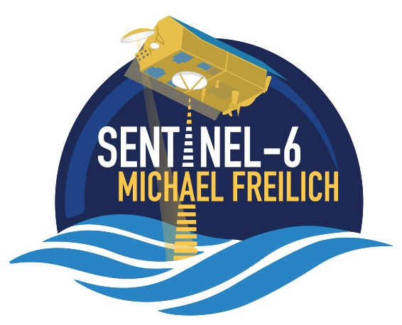 "Predominately blue logo showing a representation of the Sentinel-6 Michael Freilich satellite over blue water with lines indicating an altimeter pulse. Text ""Sentinel-6 Michael Freilich"" is in the middle of the image."