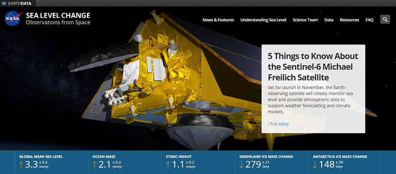 Screenshot of portal home page showing an image of the Sentinel-6 Michael Freilich satellite and a blue bar along the bottom with salient sea level change metrics.