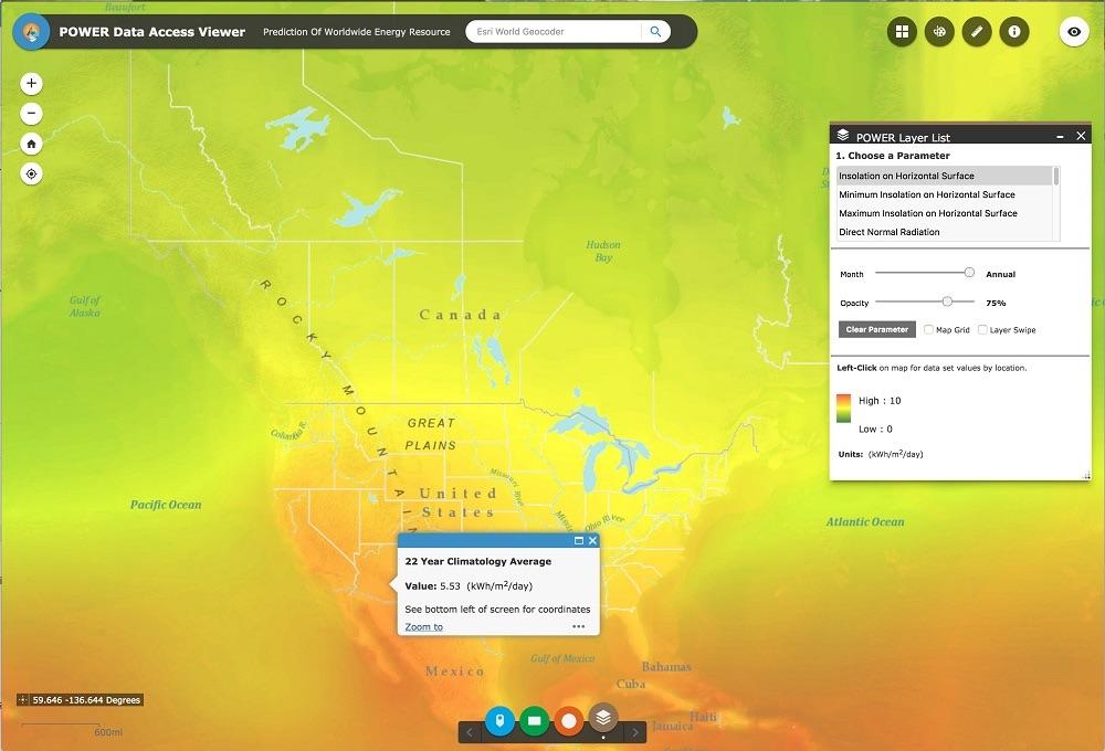 Screenshot of POWER Data Access Viewer output