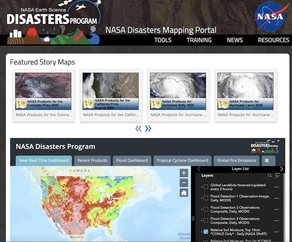 Screenshot of NASA Applied Sciences Disasters Map Portal