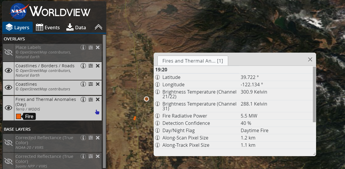 Worldview layer list on left side and example of thermal anomaly vector list on right side. Vector list has two columns with attributes on left and metrics on right