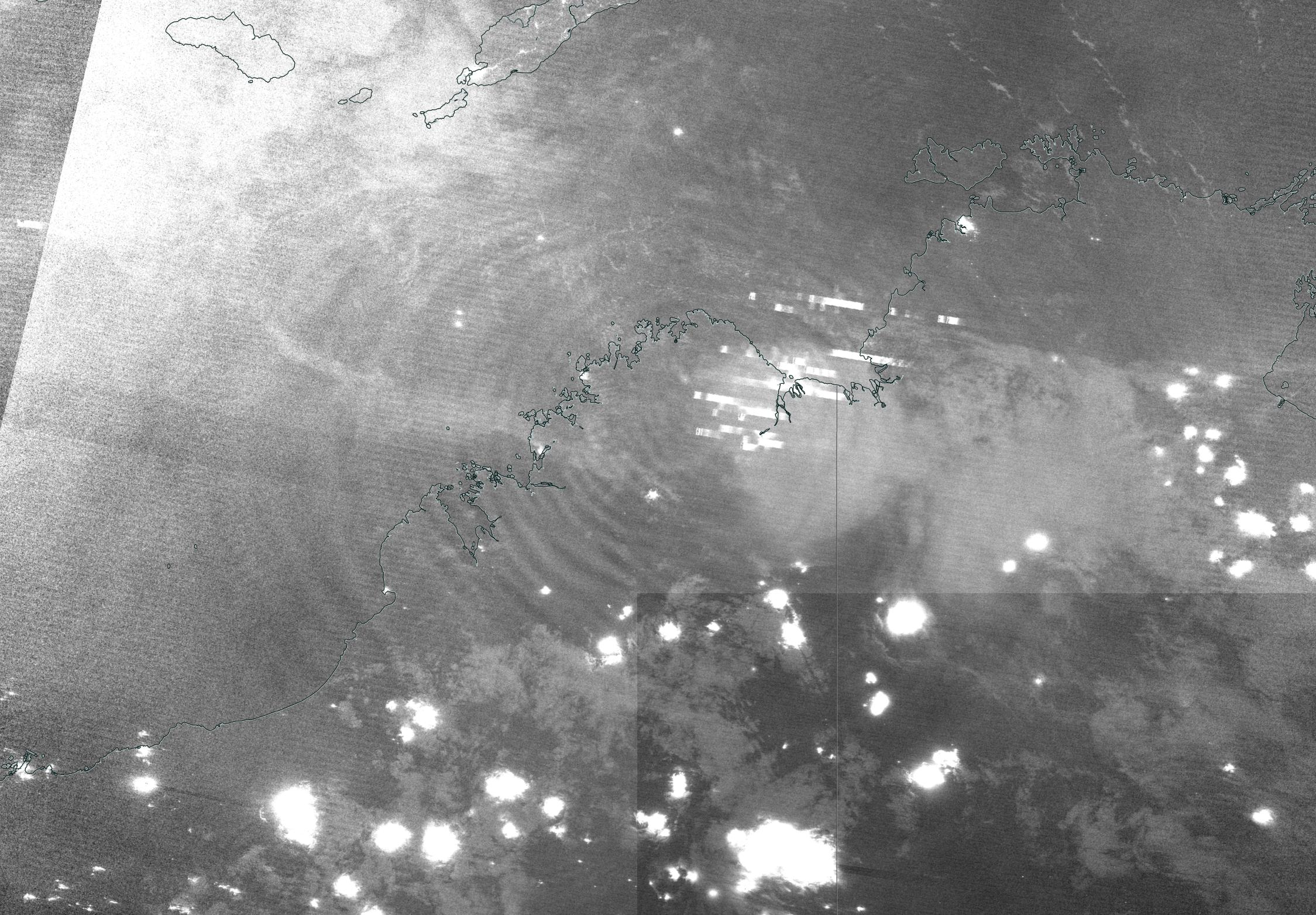 Black and white image showing clouds and bright streaks indicating lightning. Ripples radiating from the center of the image are gravity waves.