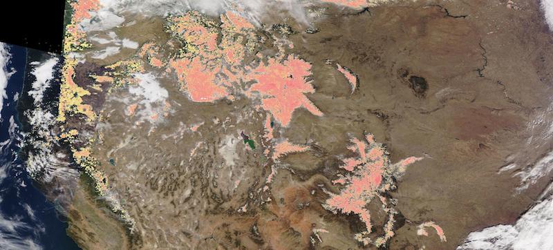 Snow in the American Rockies on 29 November 2020 (Terra/MODIS)