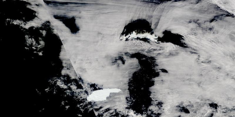Iceberg A68A Approaching South Georgia Island on 3 December 2020 (Terra/MODIS)