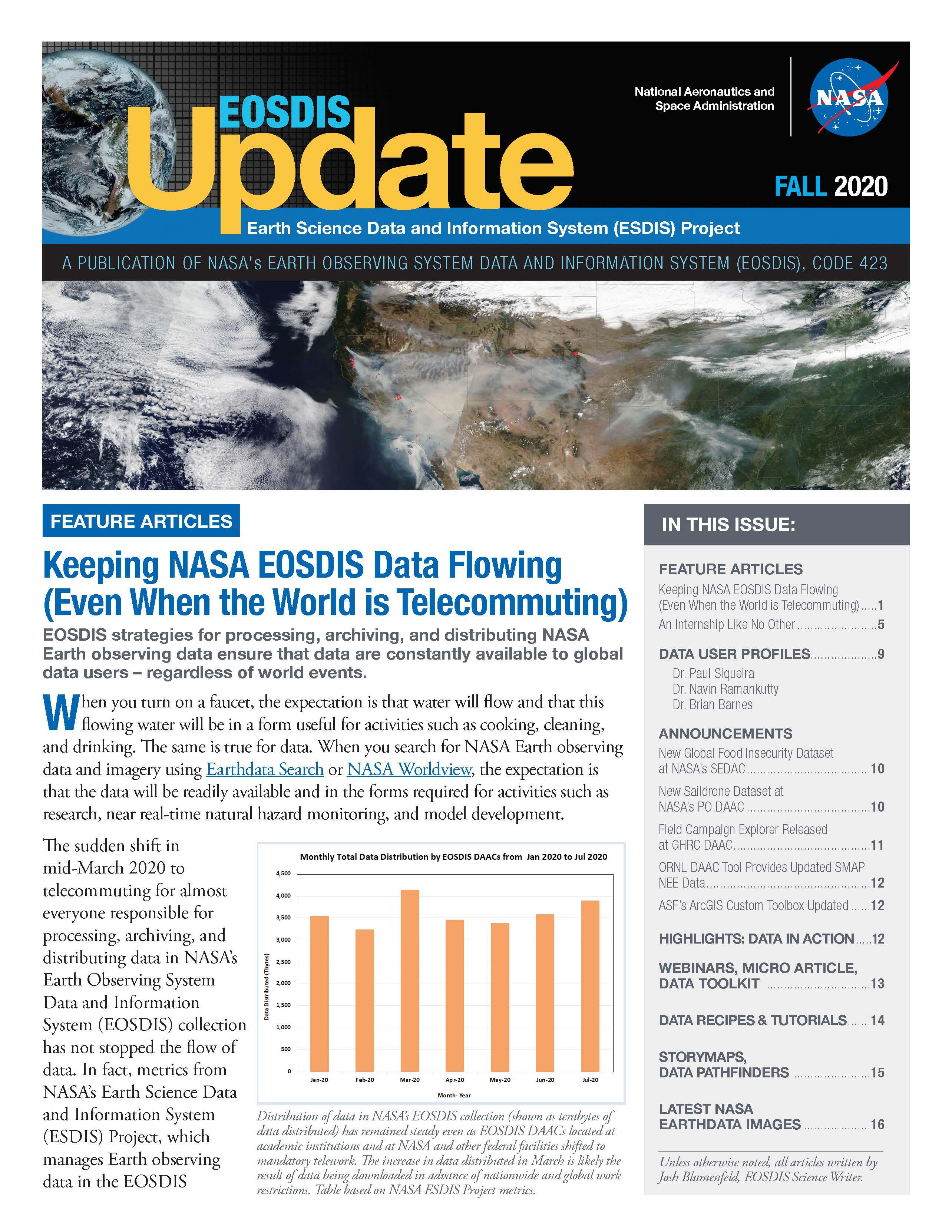 EOSDIS Quarterly Update- Fall 2020Newsletter Cover Image