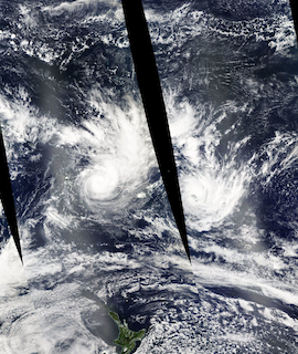 Tropical Cyclones Yasa and Zazu on 13 and 14 December (MODIS/Aqua) - Feature Grid