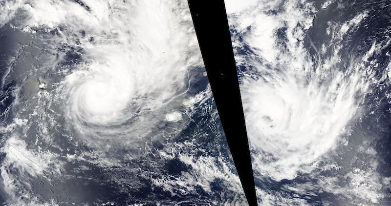 Tropical Cyclones Yasa and Zazu on 13 and 14 December (MODIS/Aqua)