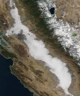 Tule Fog in the Central Valley, CA on 20 December 2020 (Terra/MODIS) - Feature Grid
