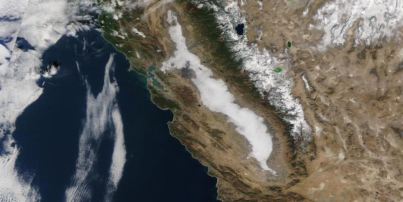 Tule Fog in the Central Valley, CA on 20 December 2020 (Terra/MODIS)
