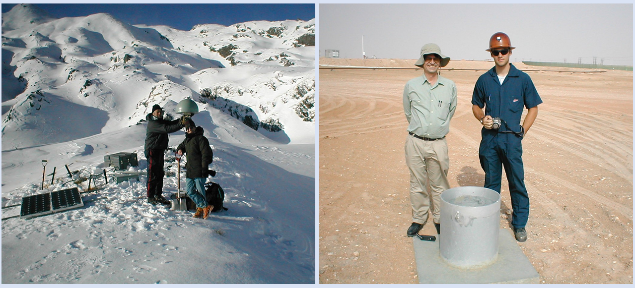 Side-by-side images of Dr. Herring. Left image is on a mountain; right image is in a desert.