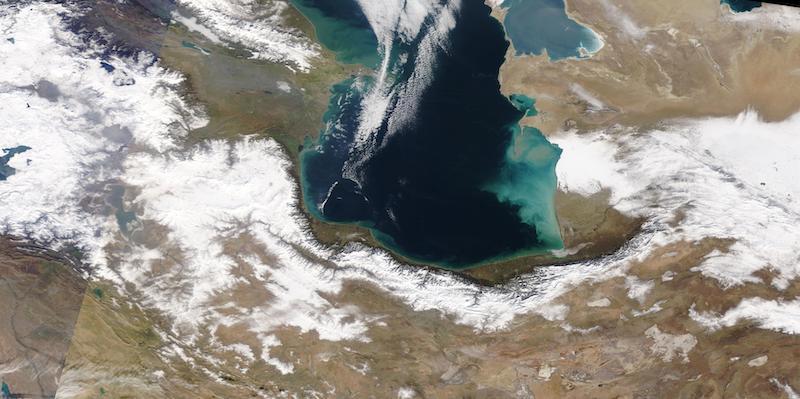 Alborz Mountains, Iran on 28 December 2020 (Terra/MODIS)