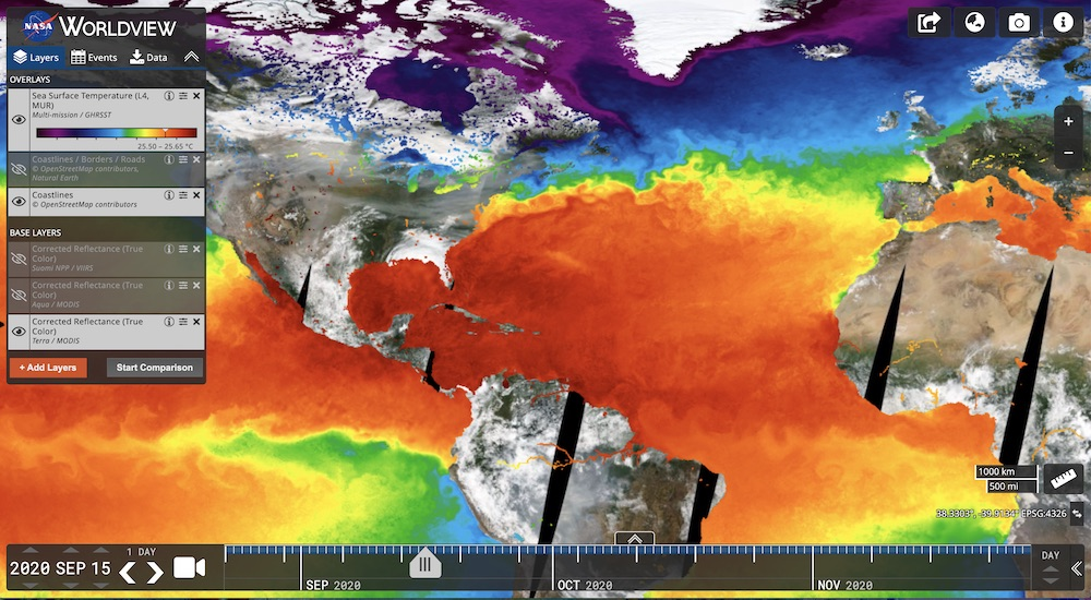 Group for High Resolution Sea Surface Temperature (GHRSST) Multiscale Ultrahigh Resolution (MUR) Sea Surface Temperature in Worldview